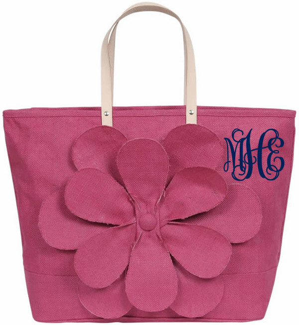 Monogrammed Large Jute Flower Tote www.tinytulip.com Fuchsia with Navy Interlocking Monogram