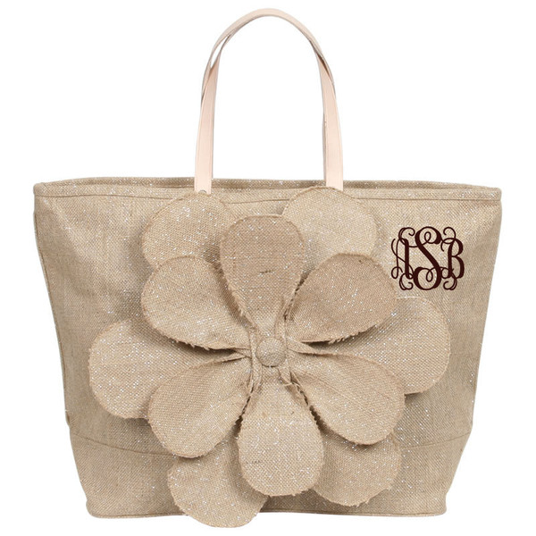 Monogrammed Large Jute Flower Tote www.tinytulip.com Shimmery Sand with Brown Interlocking Monogram