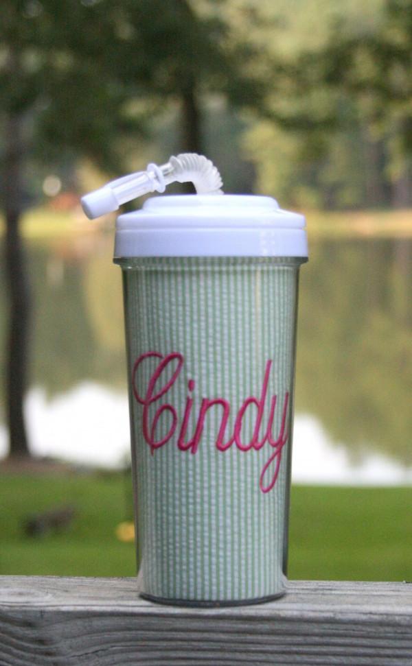 Seersucker Tall Tumbler Straw Cup ~Monogrammed  www.tinytulip.com Lime Green Seersucker with Hot Pink Fancy Script Font