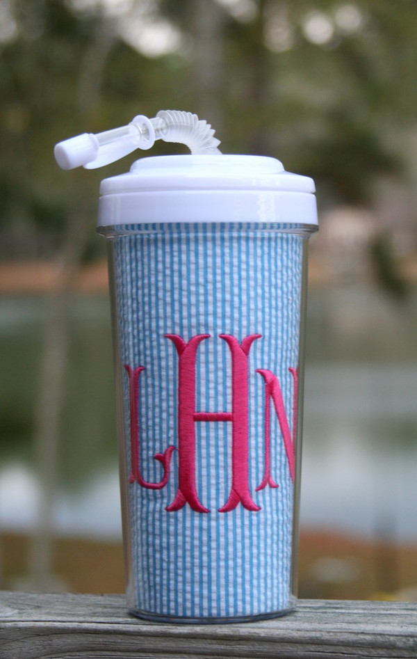 Seersucker Tall Tumbler Straw Cup ~Monogrammed  www.tinytulip.com Turquoise Seersucker with Hot Pink Fishtail Font