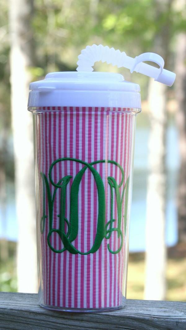 Seersucker Tall Tumbler Straw Cup ~Monogrammed www.tinytulip.com Hot Pink Seersucker with Kelly Green Interlockingt Font