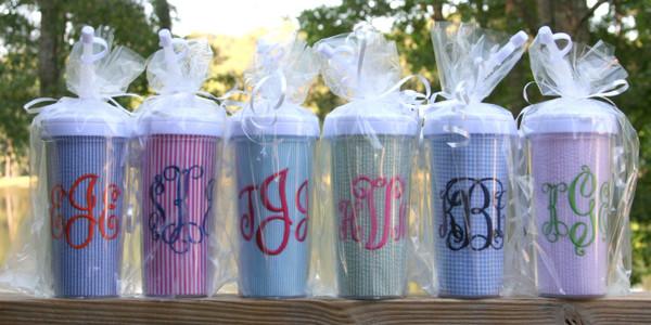 Seersucker Tall Tumbler Straw Cup ~Monogrammed www.tinytulip.com