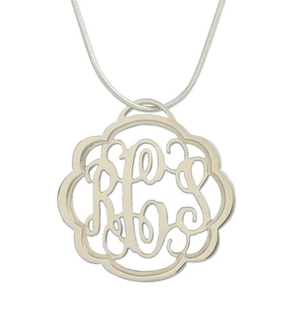 Flourish Filigree Monogram Pendant  Necklace  www.tinytulip.com