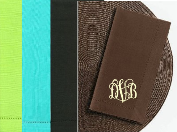 Monogrammed Hemstitch Dinner Napkins~ Set of 2  - www.tinytulip.com Lime Green, TIffany Blue, Black or Brown shown with Khaki Interlocking Font