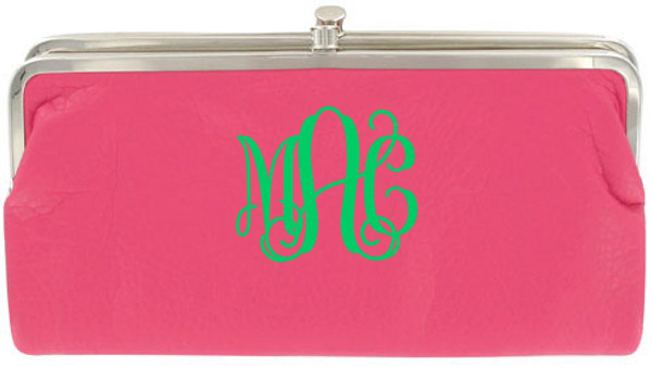 Monogrammed Clutch Wallet ~ Purse - www.tinytulip.com Hot Pink