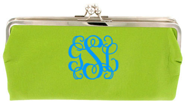Monogrammed Clutch Wallet ~ Purse - www.tinytulip.com Lime Green