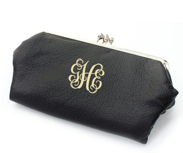 Monogrammed Clutch Wallet ~ Purse - www.tinytulip.com Black with Interlocking Font