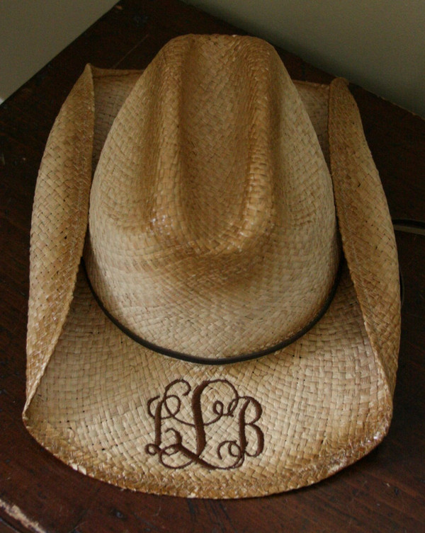 Monogrammed Cowboy Hat - www.tinytulip.com Dark Chocolate Brown Interlocking Monogram