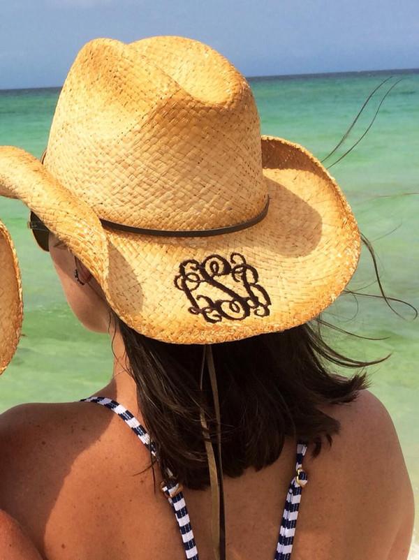 Monogrammed Cowboy Hat - www.tinytulip.com Dark Chocolate Brown Interlocking Monogram