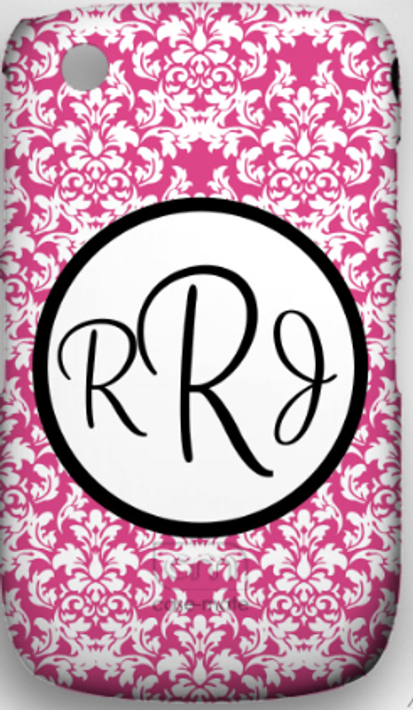 Monogrammed Phone Cover iphone blackberry samsung www.tinytulip.com Hot Pink Damask Pattern with Hollow Circle Black Cursive Font