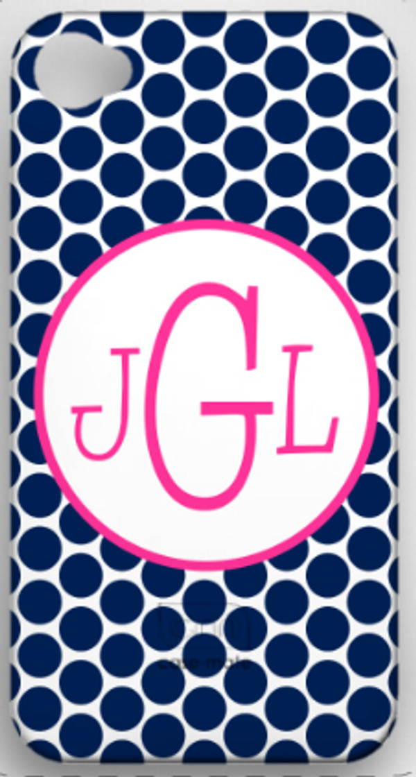 Monogrammed Phone Cover iphone blackberry samsung www.tinytulip.com Navy Polka Dot with Hollow Circle Hot Pink Blake Font