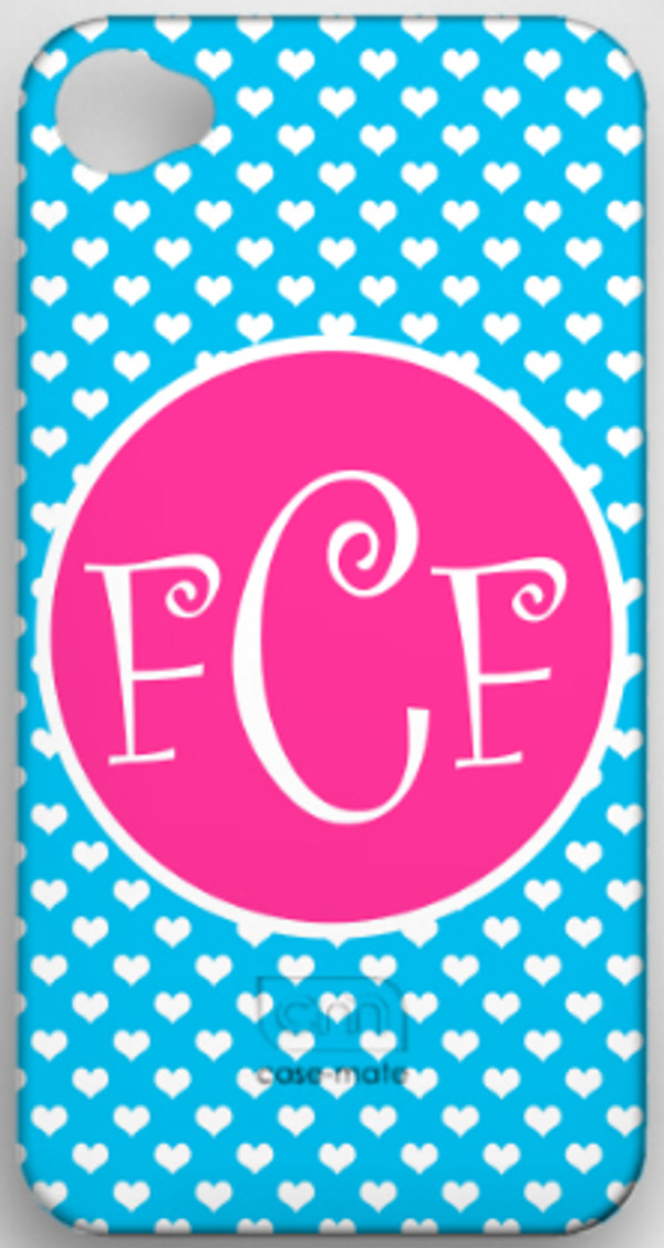 Monogrammed Phone Cover iphone blackberry samsung www.tinytulip.com Turquoise Heart with Solid Circle Hot Pink Curly Font