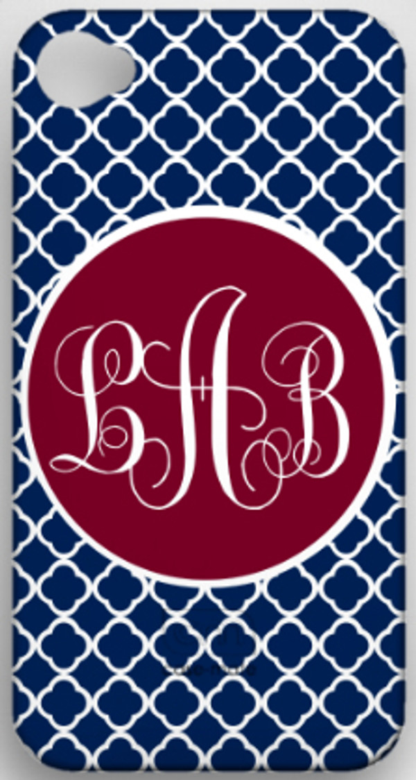 Monogrammed Phone Cover iphone blackberry samsung www.tinytulip.com Navy Tiles Pattern with Solid Circle Garnet Emma Script