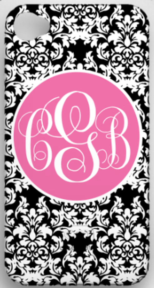 Monogrammed Phone Cover iphone blackberry samsung www.tinytulip.com Black Damask Pattern with Solid Circle Lilly Pink Emma Script Font
