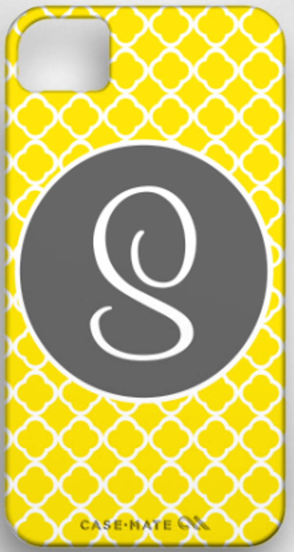 Monogrammed Phone Cover iphone blackberry samsung www.tinytulip.com Yellow Tiles Pattern with Solid Circle Gray Cursive Font