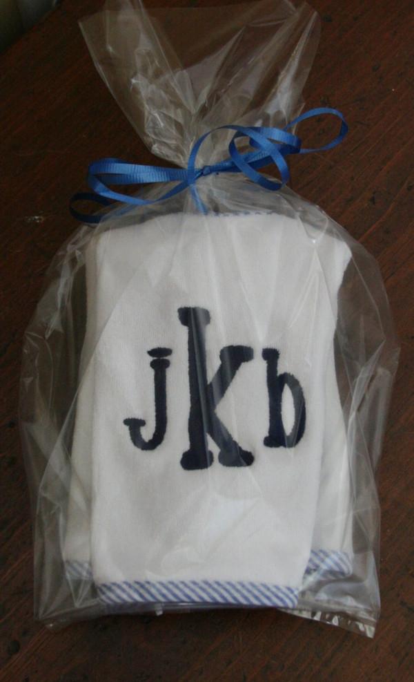 Blue Seersucker with Navy chachie font