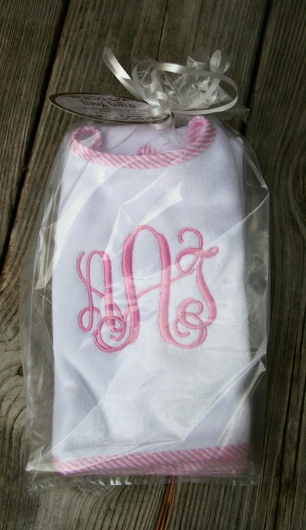 Pink Seersucker with Pink Interlocking Font