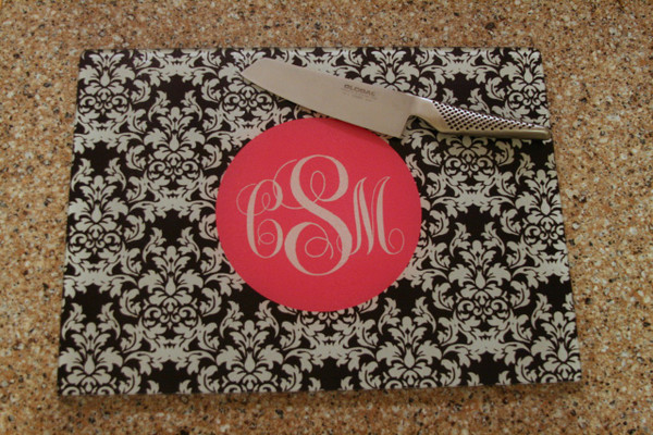 Personalized Cutting Board ~ Monogrammed - www.tinytulip.com Black Damask Pattern with Solid Circle Hot Pink Emma Script Font