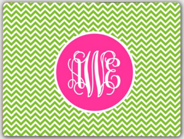Personalized Cutting Board ~ Monogrammed - www.tinytulip.com Lime Green Chevron Pattern with Solid Circle Hot Pink Interlocking Font