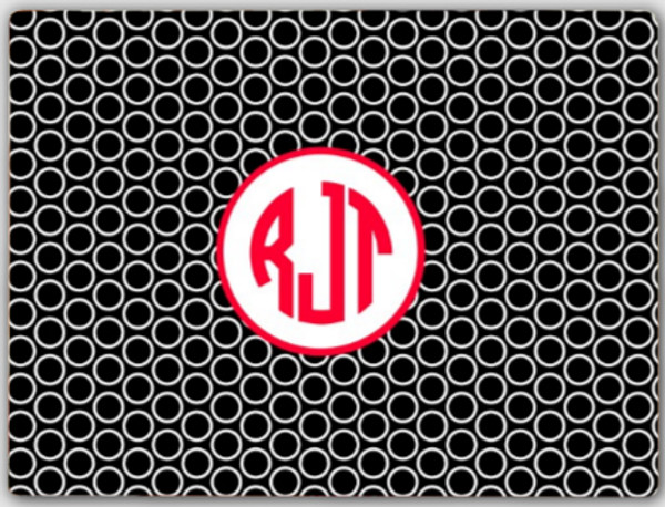 Personalized Cutting Board ~ Monogrammed - www.tinytulip.com Black Circles Pattern with Hollow Circle Red Circle Font