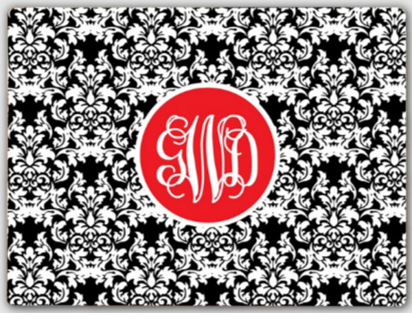 Personalized Cutting Board ~ Monogrammed - www.tinytulip.com Black Damask Pattern with Solid Circle Red Interlocking Font