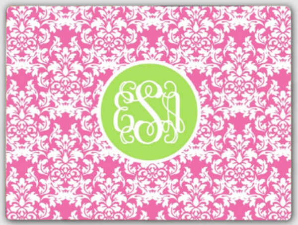 Personalized Cutting Board ~ Monogrammed - www.tinytulip.com Lilly Pink Damask Pattern with Solid Circle Lime Green Interlocking Font
