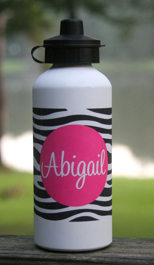 Monogrammed Water Bottle Black Zebra Pattern with Solid Circle Hot Pink Cursive Font