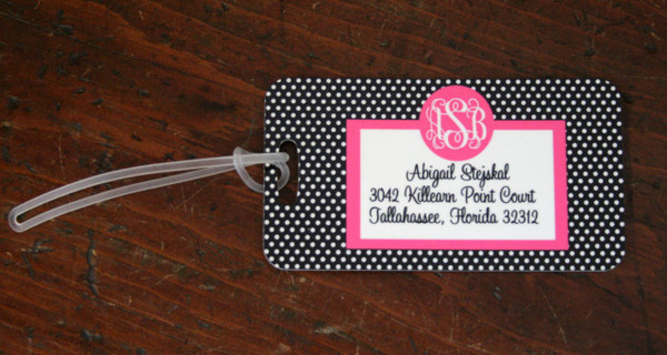 Personalized Luggage Bag Tag Monogrammed  www.tinytulip.com Black Polka Dot Pattern with Hot Pink Solid Circle Cursive Font