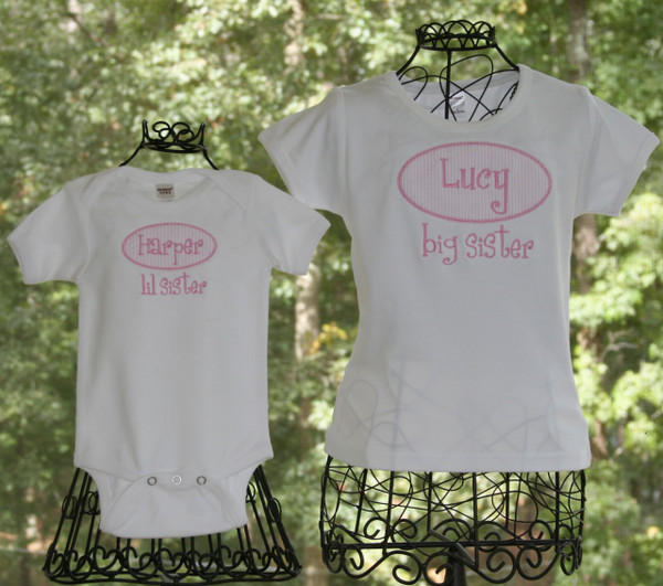 Big Sister Little Sister Seersucker Applique Shirt Onesie Monogrammed