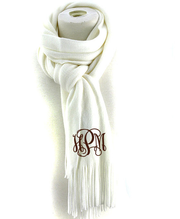 Monogrammed Cashmere Feel Winter Scarf  www.tinytulip.com Ivory with Brown Interlocking Font