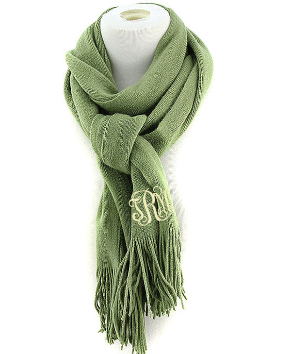 Monogrammed Cashmere Feel Winter Scarf  www.tinytulip.com Olive with Cream Interlocking Font