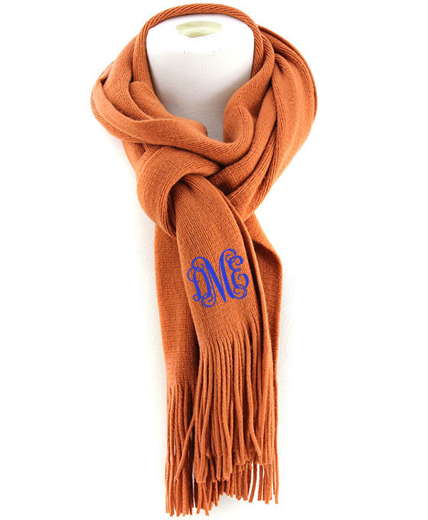 Monogrammed Cashmere Feel Winter Scarf  www.tinytulip.com Orange with Royal Blue Interlocking Font