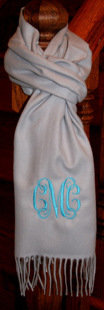 Monogrammed Cashmere Feel Winter Scarf  www.tinytulip.com Silver with Turquoise Interlocking Font