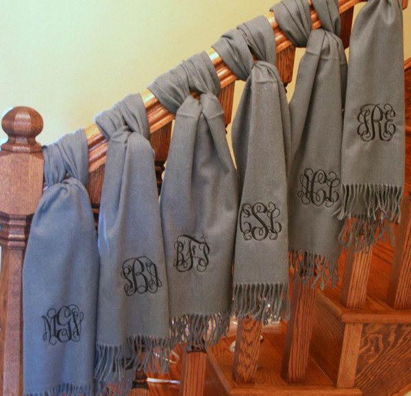 Monogrammed Cashmere Feel Winter Scarf  www.tinytulip.com Gray with Black Interlocking Font