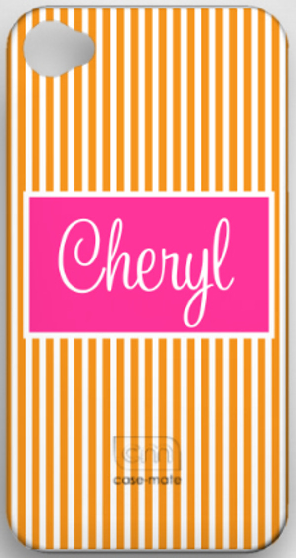 Monogrammed Phone Cover iphone blackberry samsung www.tinytulip.com Seersucker Orange with Hot Pink Solid Rectangle Cursive Font