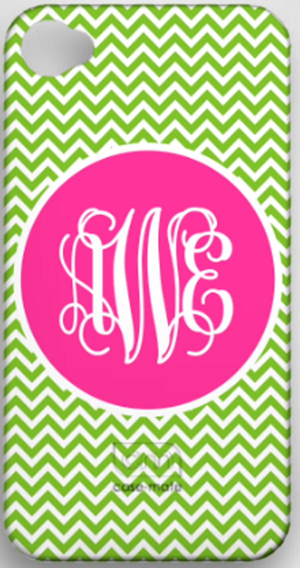 Monogrammed Phone Cover iphone blackberry samsung www.tinytulip.com Lime Green Chevron Pattern with Solid Circle Hot Pink Interlocking Font