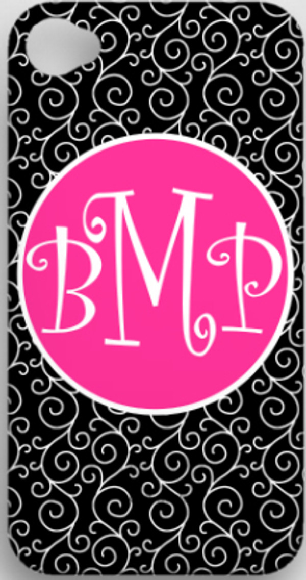 Monogrammed Phone Cover iphone blackberry samsung www.tinytulip.com Black Swirls Pattern with Solid Circle Hot Pink Curly Font