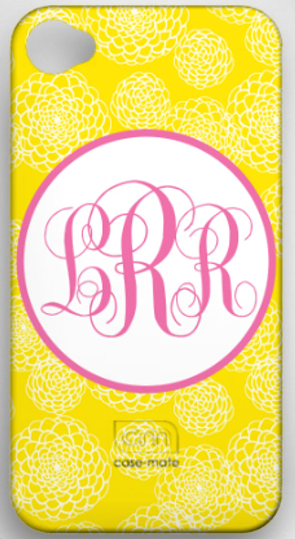 Monogrammed Phone Cover iphone blackberry samsung www.tinytulip.com Yellow Zinnia with Hollow Circle Lilly Pink Emma Script