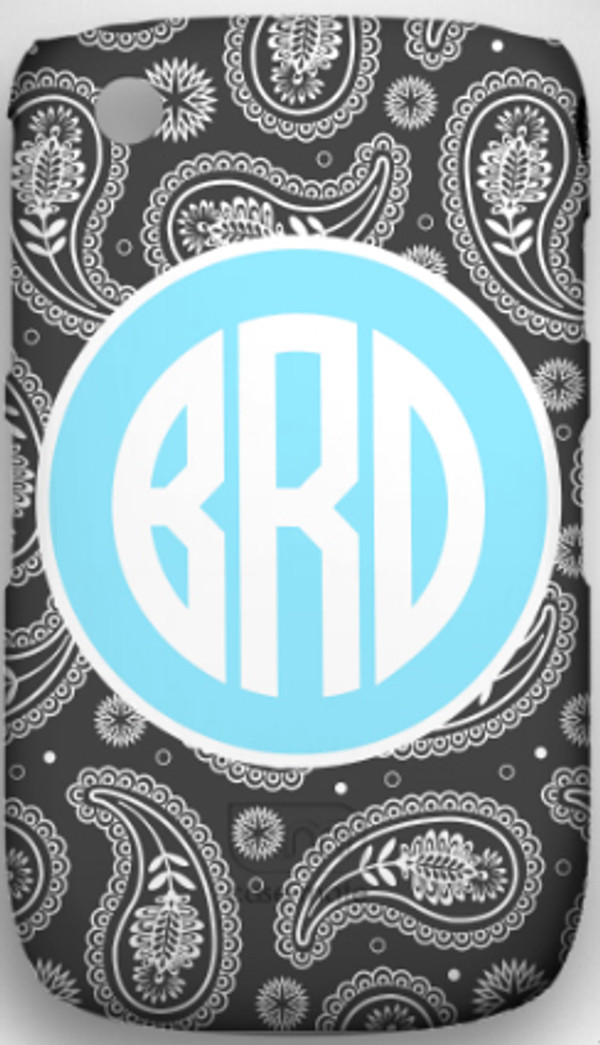Monogrammed Phone Cover iphone blackberry samsung www.tinytulip.com Gray Paisley Pattern with Solid Circle Baby Blue Circle Font