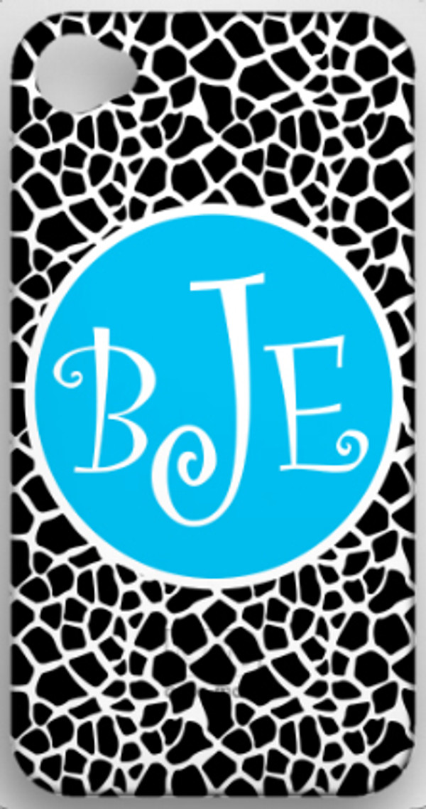 Monogrammed Phone Cover iphone blackberry samsung www.tinytulip.com Black Giraffe Pattern with Solid Circle Turquoise Curly Font