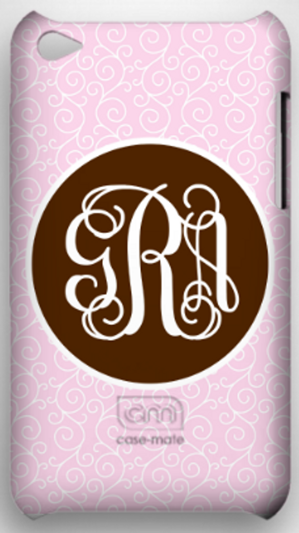 Monogrammed Phone Cover iphone blackberry samsung www.tinytulip.com Pink Swirls Pattern with Solid Circle Brown Interlocking Font