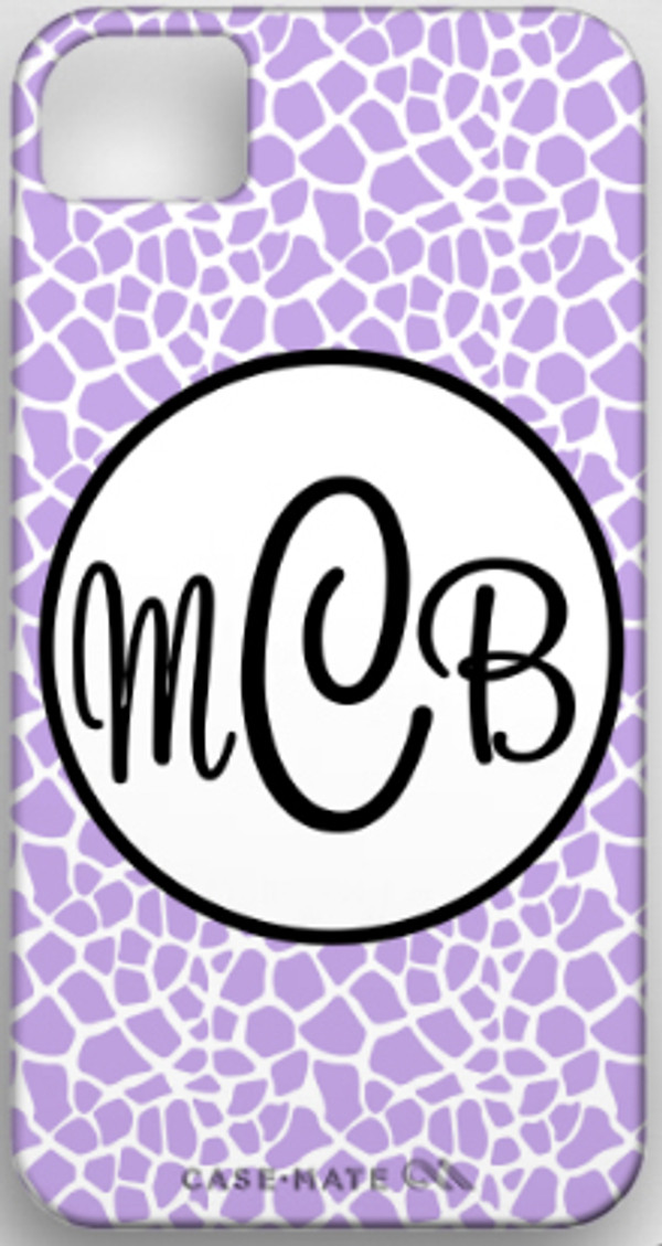 Monogrammed Phone Cover iphone blackberry samsung www.tinytulip.com Lavender Giraffe Pattern with Hollow Circle Black Cursive Font