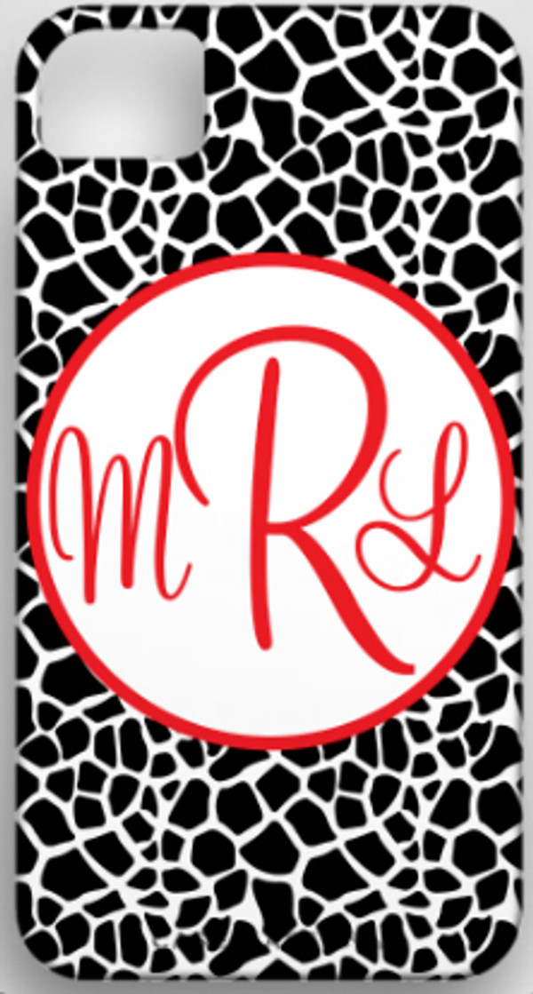 Monogrammed Phone Cover iphone blackberry samsung www.tinytulip.com Black Giraffe Pattern with Hollow Circle Red Cursive Font