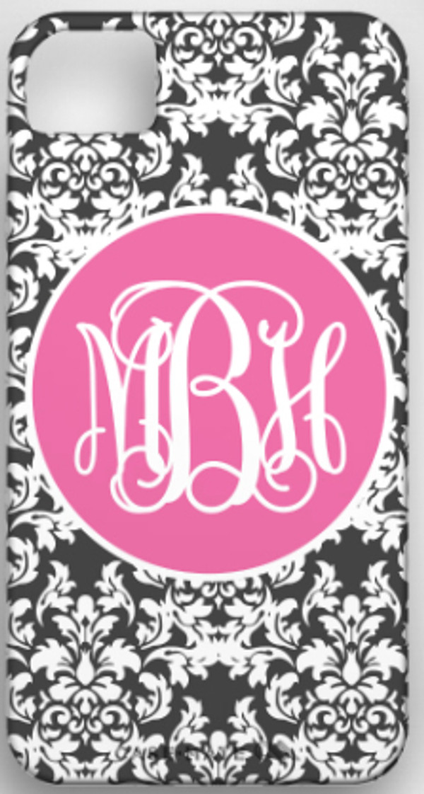 Monogrammed Phone Cover iphone blackberry samsung www.tinytulip.com Charcoal Gray Damask Pattern with Solid Circle Lilly Pink Emma Script Font