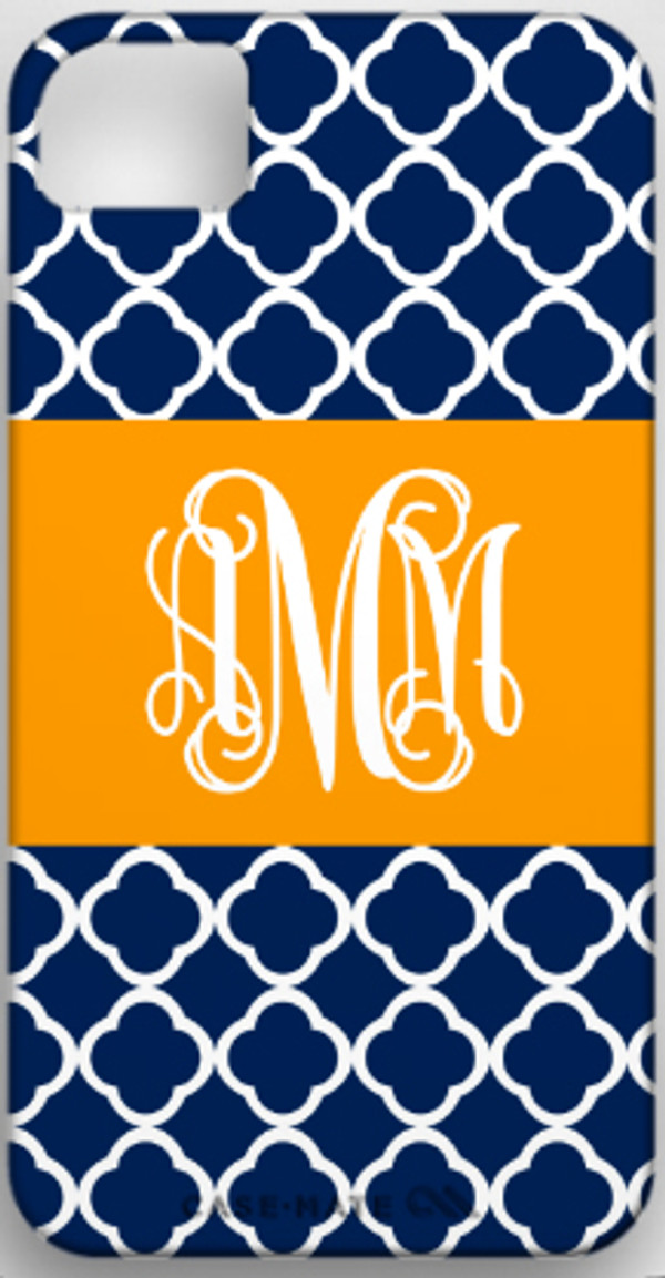 Monogrammed Phone Cover iphone blackberry samsung www.tinytulip.com Navy Tiles Pattern with Solid Ribbon Orange Interlocking Font