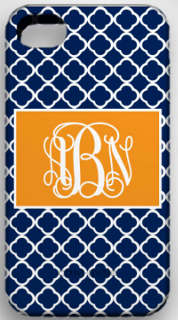 Monogrammed Phone Cover iphone blackberry samsung www.tinytulip.com Navy Tiles Pattern with Solid Rectangle Orange Interlocking Font