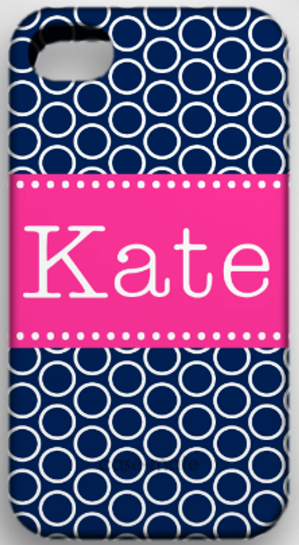 Monogrammed Phone Cover iphone blackberry samsung www.tinytulip.com Navy Circles Pattern with Classic Dot Ribbon Hot Pink Typewriter Font