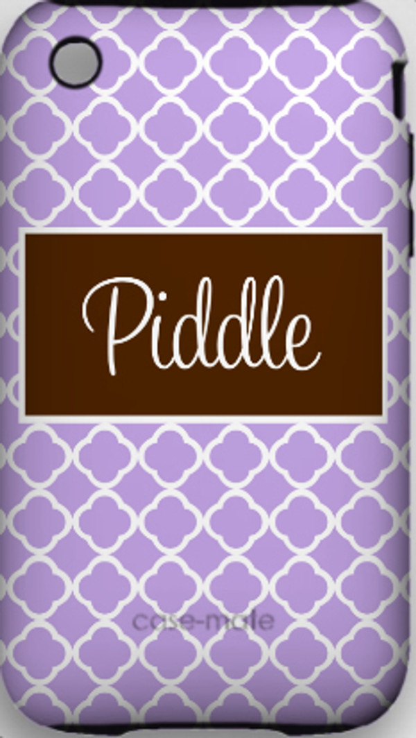 Monogrammed Phone Cover iphone blackberry samsung www.tinytulip.com Lavender Tiles Pattern with Solid Rectangle Brown Cursive Font