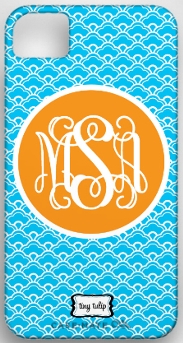Monogrammed Phone Cover iphone blackberry samsung www.tinytulip.com Turquoise Scallop Pattern with Orange Solid Circle Interlocking Font