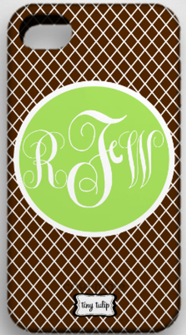 Monogrammed Phone Cover iphone blackberry samsung www.tinytulip.com Brown Lattice with Lime Green Solid Circle Emma Script Font